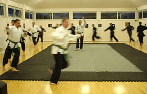 Class warm up in dojo